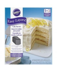 Easy Layers SQUARE 6 inch Cake Pan Set 5 (great for rainbow cakes)