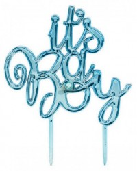 Its a Boy Metallic blue plastic baby shower cake topper