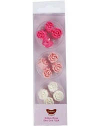 Pink roses assortment sugar icing rose buds (12)