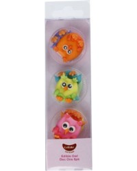 Rainbow Owls sugar icing decorations