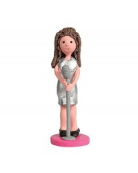 Female lady singer figurine claydough topper