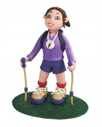 Lady Hiker or tramper claydough figurine topper