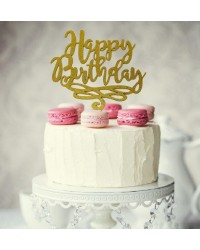 Happy Birthday Gold Glitter acrylic topper