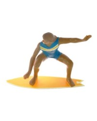 Male Surfer cake topper figurine blue surfer yellow board