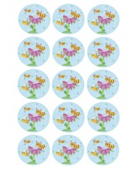 Design Sheet edible image Bees and flower