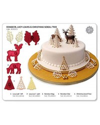 Reindeer lacy leaves and Christmas tree cutter set (filigree) Jem