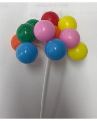 Bunch balloons 12 Rainbow plastic cake topper