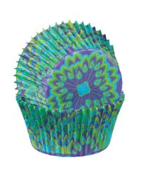 Peacock purple blue and green standard cupcake papers