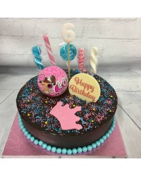 Custom decorated round cake in store pick LOL Surprise doll ball