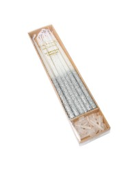 15cm Tall Glitter dipped candles Silver