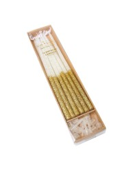 15cm Tall Glitter dipped candles Gold