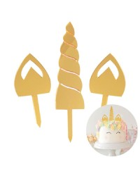 Unicorn Gold Mirror horn and ears cake topper set