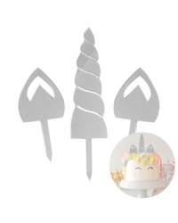 Unicorn Silver Mirror horn and ears cake topper set