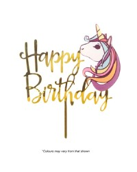 Unicorn Gold Happy birthday Acrylic cake topper