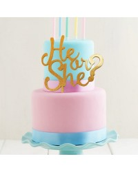 Gender Reveal Baby Shower GOLD acrylic topper He or She?