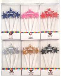 Happy Birthday Star Pick candle set Silver