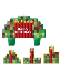 TNT Pixellated candle Happy birthday set