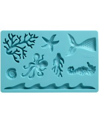Sea Life Fondant and Gum Paste silicone Mould Shells Coral style 2