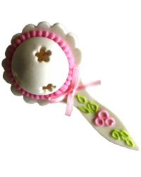 Baby pink 3d sugar icing rattle