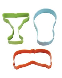 Summer 3 pc cookie cutter set Jandals Margarita and sunglasses