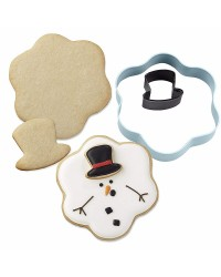 Christmas Melting Snowman 2 piece Metal Cookie Cutter Set