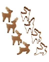 Christmas Mini Reindeer Metal Cookie Cutter Set 4
