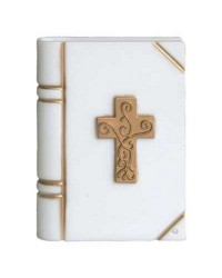 Bible with Gold Cross plastic cake topper