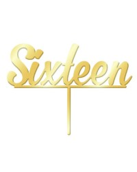 Number Sixteen 16 Gold Mirror Acrylic cake topper pick