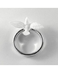Silver wedding ring with dove