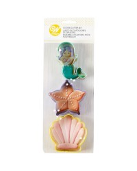 Mermaid seashell starfish 3 piece wilton cookie cutter set