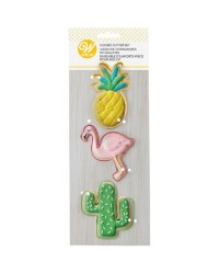 Tropical Cookie Cutter Wilton Set 3 Piece Flamingo Pineapple cactus