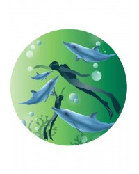 Edible Image Diver and dolphins