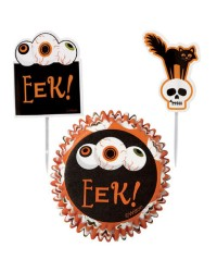 Halloween cupcake combo papers and picks scary eyeball skull and cat