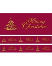 Christmas cake Frill Burgundy Red Merry Christmas 82mm wide