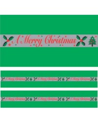 Christmas cake Frill Green Merry Christmas 82mm wide
