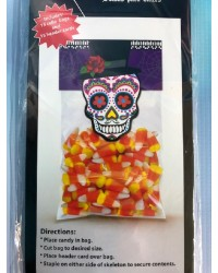 Day of the Dead Skull Dia de Muertos cello bags and header cards