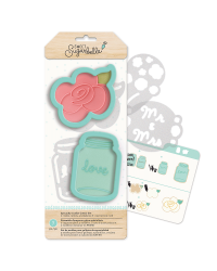 Sweet Sugarbelle Country Rose and Mason Jar cookie cutter set 2 cutters