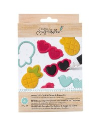 Sweet Sugarbelle Cookie cutter and stamp set Tropical sunglasses and pineapple