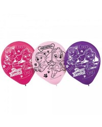 Paw Patrol Balloons Packs of 6 pinks and purples