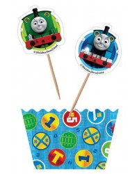 Thomas the tank engine cupcake paper and pick set
