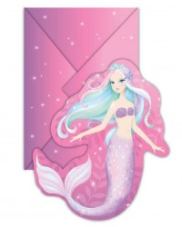 Pretty Mermaid party invites (8) invitations with envelopes