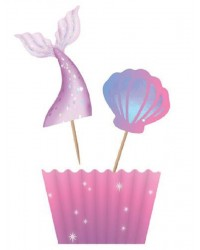 Pretty mermaid cupcake paper and pick set (12)