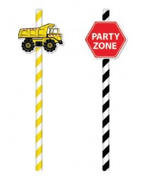 Construction vehicle party paper straws (20)