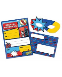Comic book super heroes party invite with masks (8)