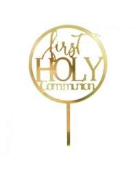 First Holy Communion Gold mirror acrylic cake topper