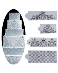 FILIGREE FLORAL STENCIL SET of 4