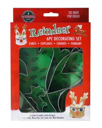 Reindeer antler and face cookie cutter cake decorating set