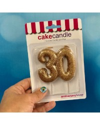 Special Age number candle gold glitter 30