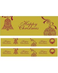 Christmas cake Frill Gold Happy Christmas 82mm wide