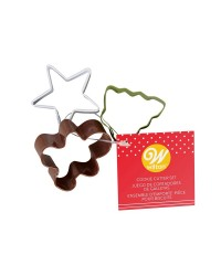 Set 3 mini Christmas coloured metal cookie cutters by Wilton